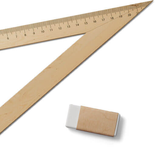 ruler and eraser
